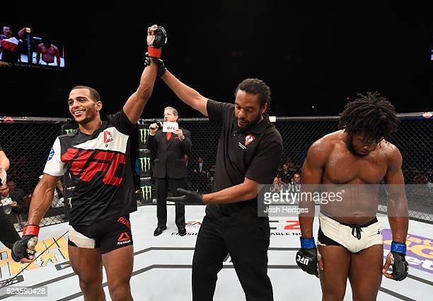 Danny Roberts celebrates his victory over Dominique Steele in their welterweight bout during the UFC 197 event inside MGM Grand Garden Arena on April...
