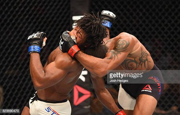 Danny Roberts of England grabs the head of Dominique Steele in their welterweight bout during the UFC 197 event inside MGM Grand Garden Arena on...