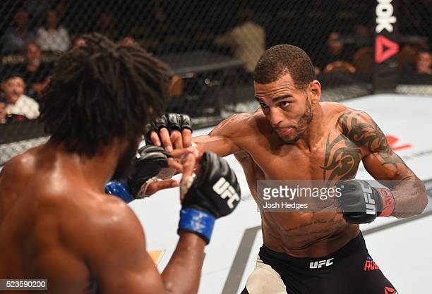 Danny Roberts of England punches Dominique Steele in their welterweight bout during the UFC 197 event inside MGM Grand Garden Arena on April 23, 2016...