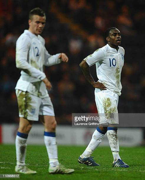 Danny Rose and Kyle Naughton of England show their frustration during the International Friendly match between England U21 and Iceland U21 at...