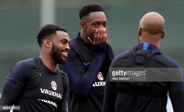 Danny Rose Danny Welbeck and Fabian Delph of England attend an England training session on June 25 2018 in Saint Petersburg Russia