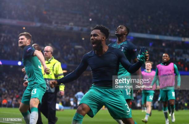 Danny Rose Eric Dire and Victor Wanyama of Tottenham Hotspur celebrate winning the UEFA Champions League Quarter Final second leg match between...
