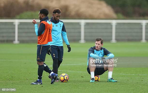 Danny Rose GeorgesKévin N'Koudou and Jan Vertonghen of Tottenham during the Tottenham Hotspur Training session at Tottenham Hotspur Training Centre...