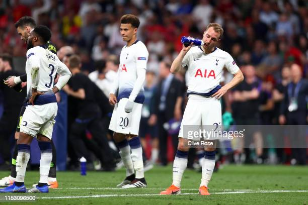 Danny Rose Hugo Lloris Dele Alli and Christian Eriksen of Tottenham Hotspur stand dejected following the UEFA Champions League Final between...