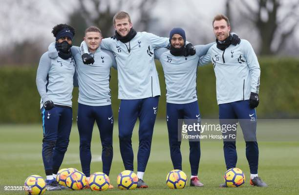 Danny Rose Kieran Trippier Eric Dier Lucas Moura and Christian Eriksen of Tottenham Hotspur during the Tottenham Hotspur training session at...