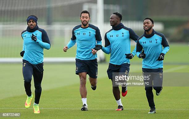 Danny Rose, Mousa Dembele, Victor Wanyama and Georges-Kévin N'Koudou of Tottenham during the Tottenham Hotspur training session at Tottenham hotspur...