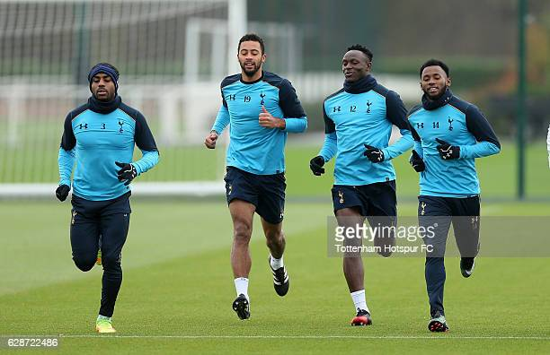 Danny Rose Mousa Dembele Victor Wanyama and GeorgesKévin N'Koudou of Tottenham during the Tottenham Hotspur training session at Tottenham hotspur...