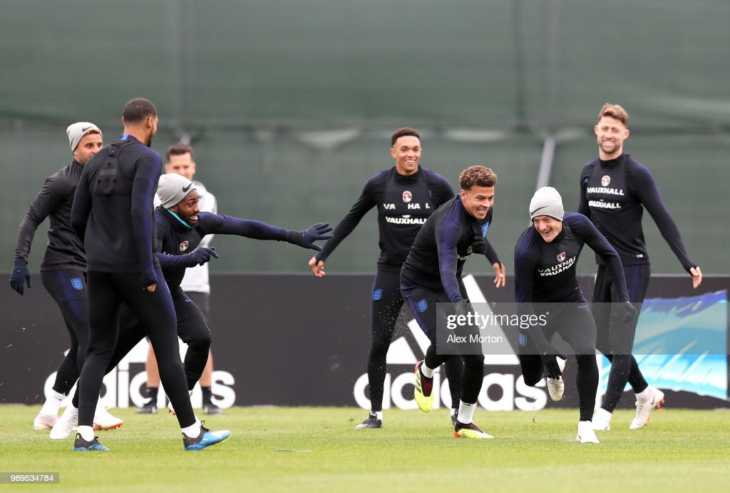 Danny Rose of England and Dele Alli of England chase Jamie Vardy of England in a drill during the England training session at the Stadium Spartak Zelenogorsk on July 2, 2018 in Saint Petersburg, Russia.