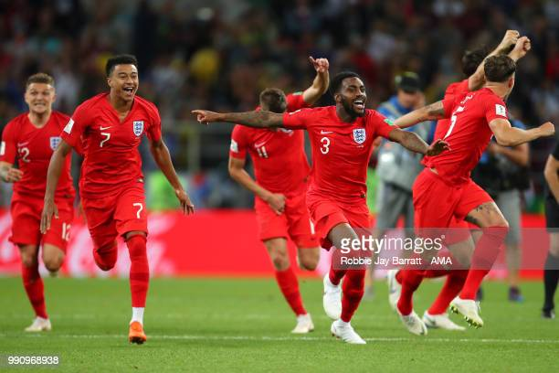 Danny Rose of England and his teammates celebrate winning a penalty shootout at the end of extra time during the 2018 FIFA World Cup Russia Round of...