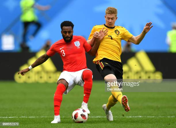Danny Rose of England is challenged by Kevin De Bruyne of Belgium during the 2018 FIFA World Cup Russia 3rd Place Playoff match between Belgium and...