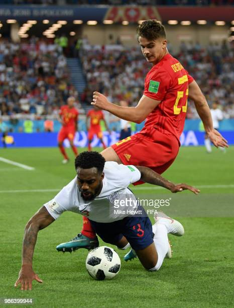 Danny Rose of England knocked to floor from challenge by Leander Dendoncker of Belgium during the 2018 FIFA World Cup Russia group G match between...