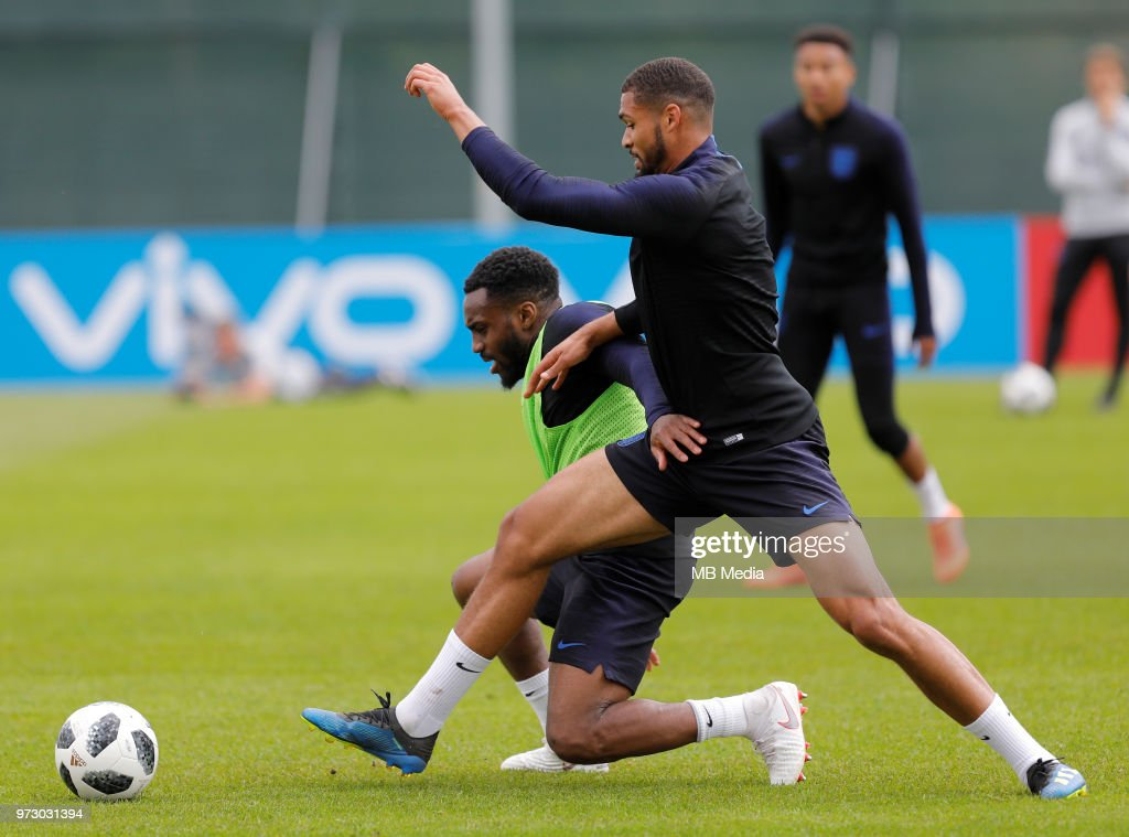 Danny Rose (L) of England national team and Ruben Loftus-Cheek of England national team during an England national team training session ahead of the FIFA World Cup 2018 in Russia at Stadium Spartak Zelenogorsk on June 13, 2018 in Saint Petersburg, Russia.