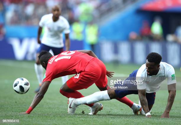 Danny Rose of England tackles Abdiel Arroyo of Panama during the 2018 FIFA World Cup Russia group G match between England and Panama at Nizhny...