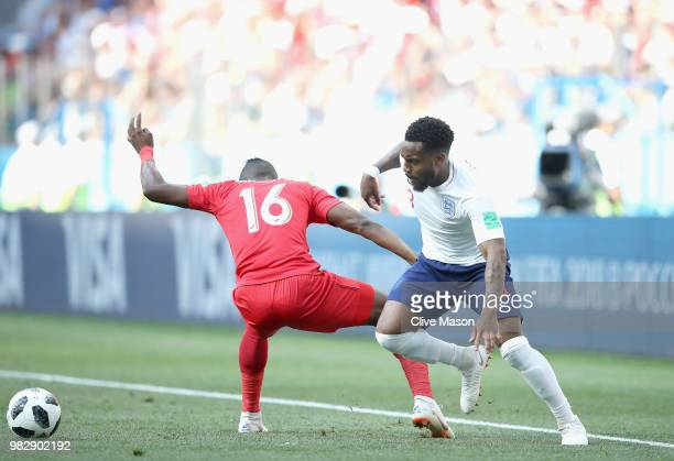 Danny Rose of England takes on Abdiel Arroyo of Panama during the 2018 FIFA World Cup Russia group G match between England and Panama at Nizhniy...