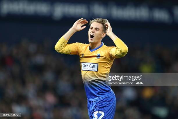 Danny Rose of Mansfield Town reacts during the Carabao Cup Second Round match between West Bromwich Albion and Mansfield Town at The Hawthorns on...