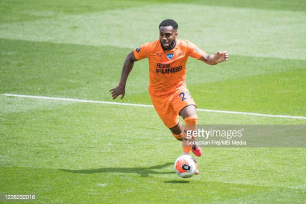 Danny Rose of Newcastle United control ball during the Premier League match between Watford FC and Newcastle United at Vicarage Road on July 11 2020...