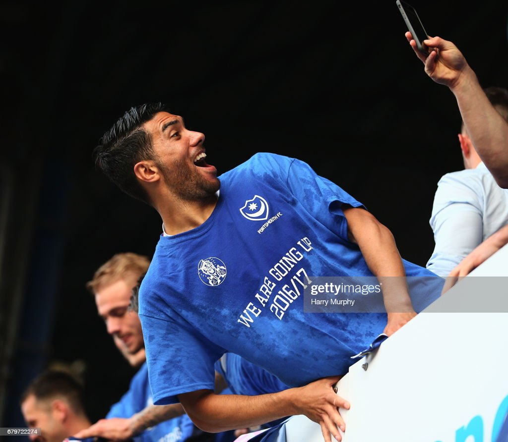 Danny Rose of Portsmouth poses for a photograph after the Sky Bet League Two match between Portsmouth and Cheltenham Town at Fratton Park on May 6, 2017 in Portsmouth, England.