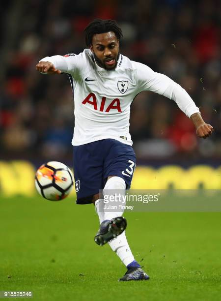 Danny Rose of Spurs in action during The Emirates FA Cup Fourth Round Replay match between Tottenham Hotspur and Newport County at Wembley Stadium on...