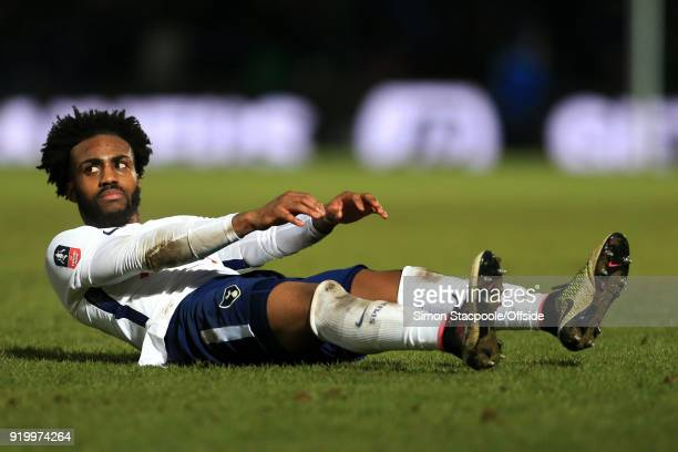 Danny Rose of Spurs looks dejected during The Emirates FA Cup Fifth Round match between Rochdale AFC and Tottenham Hotspur at Spotland Stadium on...