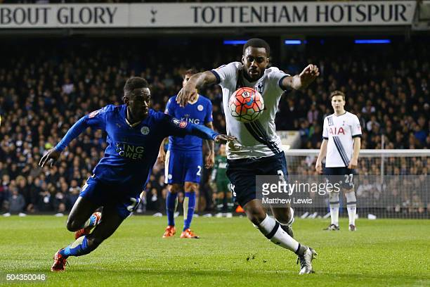 Danny Rose of Spurs takes on Nathan Dyer of Leicester City during The Emirates FA Cup third round match between Tottenham Hotspur and Leicester City...