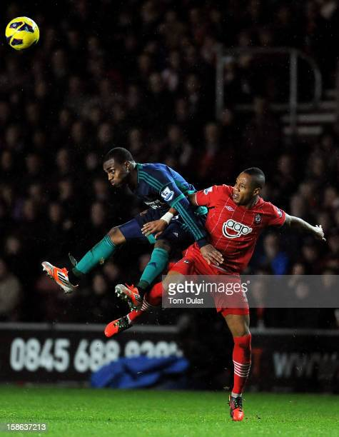 Danny Rose of Sunderland and Nathaniel Clyne of Southampton compete for the ball during the Barclays Premier League match between Southampton and...