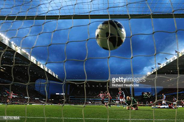 Danny Rose of Sunderland scores during the Barclays Premier League match between Aston Villa and Sunderland at Villa Park on April 29 2013 in...