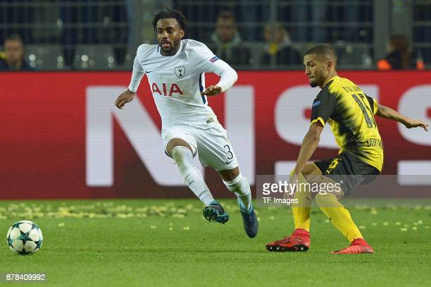 Danny Rose of Tottenham Hotspur and Jeremy Toljan of Borussia Dortmund battle for the ball during the UEFA Champions League group H match between...