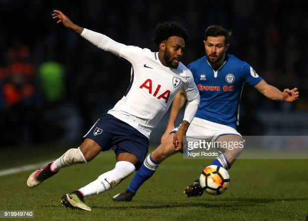 Danny Rose of Tottenham Hotspur and Joseph Rafferty of Rochdale AFC in action during The Emirates FA Cup Fifth Round match between Rochdale and...