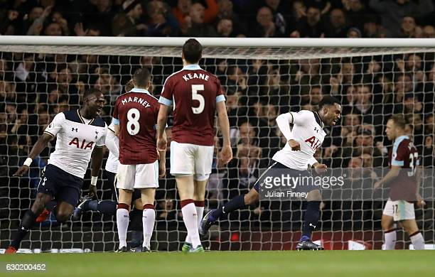 Danny Rose of Tottenham Hotspur celebrates scoring his sides second goal during the Premier League match between Tottenham Hotspur and Burnley at...