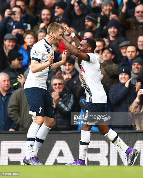 Danny Rose of Tottenham Hotspur celebrates scoring his team's second goal with Eric Dier during the Barclays Premier League match between Tottenham...