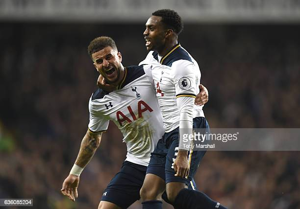 Danny Rose of Tottenham Hotspur celebrates scoring their second goal with Kyle Walker of Tottenham Hotspur during the Barclays Premier League match...