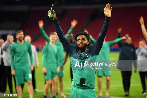 Danny Rose of Tottenham Hotspur celebrates victory after the UEFA Champions League Semi Final second leg match between Ajax and Tottenham Hotspur at...