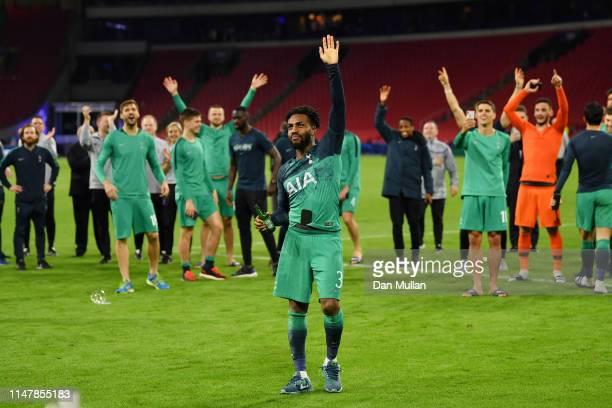 Danny Rose of Tottenham Hotspur celebrates victory after the UEFA Champions League Semi Final second leg match between Ajax and Tottenham Hotspur at...