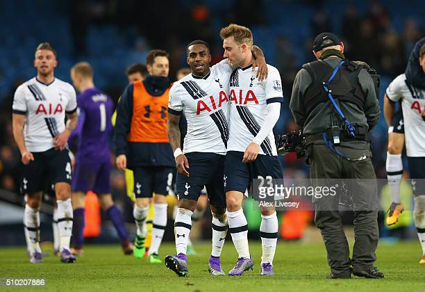 Danny Rose of Tottenham Hotspur celebrates with Christian Eriksen after the Barclays Premier League match between Manchester City and Tottenham...