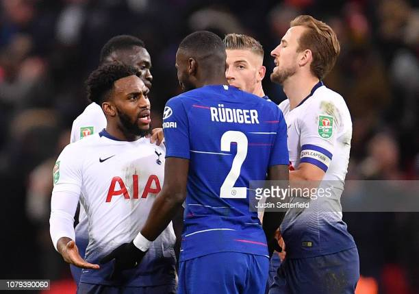 Danny Rose of Tottenham Hotspur clashes with Antonio Ruediger of Chelsea as Harry Kane of Tottenham Hotspur attemps to break the two up during the...
