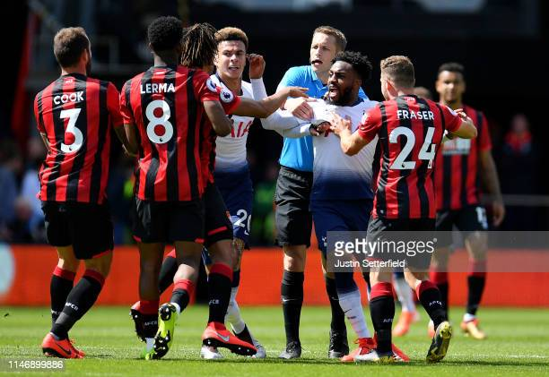 Danny Rose of Tottenham Hotspur clashes with Nathan Ake of AFC Bournemouth during the Premier League match between AFC Bournemouth and Tottenham...