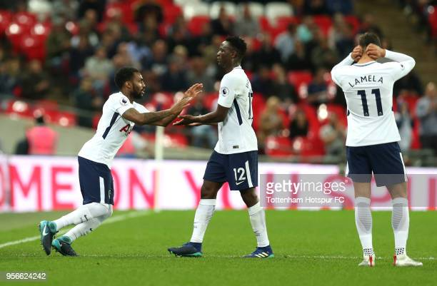 Danny Rose of Tottenham Hotspur comes on for Victor Wanyama of Tottenham Hotspur during the Premier League match between Tottenham Hotspur and...