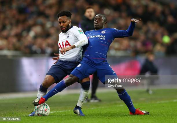 Danny Rose of Tottenham Hotspur is challenged by N'golo Kante of Chelsea during the Carabao Cup SemiFinal First Leg match between Tottenham Hotspur...