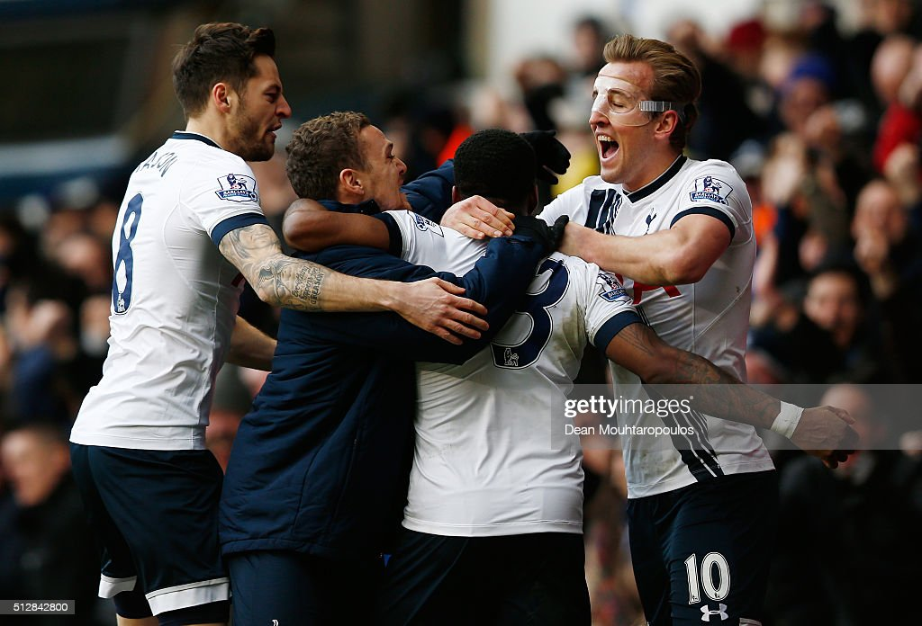 Danny Rose of Tottenham Hotspur is mobbed by team mates including Harry Kane of Tottenham Hotspur after scoring his team's second goal during the Barclays Premier League match between Tottenham Hotspur and Swansea City at White Hart Lane on February 28, 2016 in London, England.