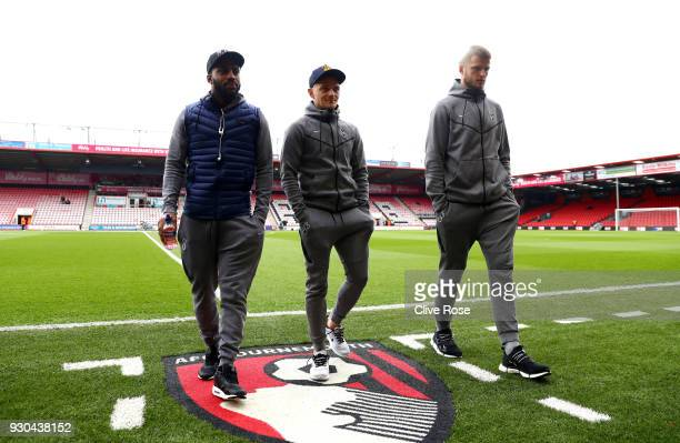 Danny Rose of Tottenham Hotspur Kieran Trippier of Tottenham Hotspur and Eric Dier of Tottenham Hotspur take a look around the pitch prior to the...