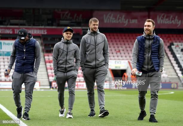 Danny Rose of Tottenham Hotspur Kieran Trippier of Tottenham Hotspur Eric Dier of Tottenham Hotspur and Christian Eriksen of Tottenham Hotspur take a...