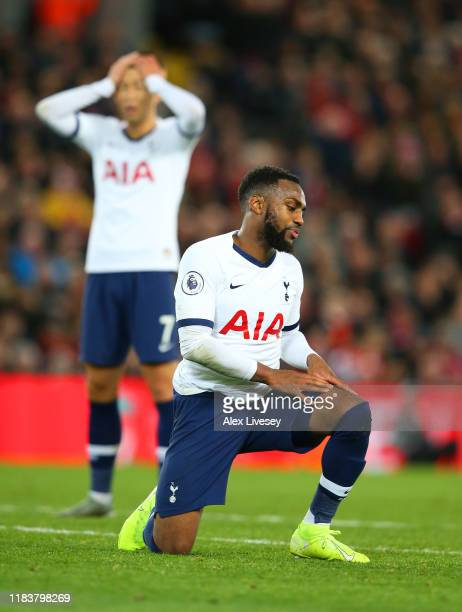 Danny Rose of Tottenham Hotspur reacts after a miss during the Premier League match between Liverpool FC and Tottenham Hotspur at Anfield on October...