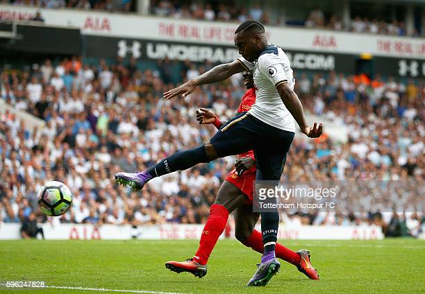 Danny Rose of Tottenham Hotspur scores his sides first goal during the Premier League match between Tottenham Hotspur and Liverpool at White Hart...