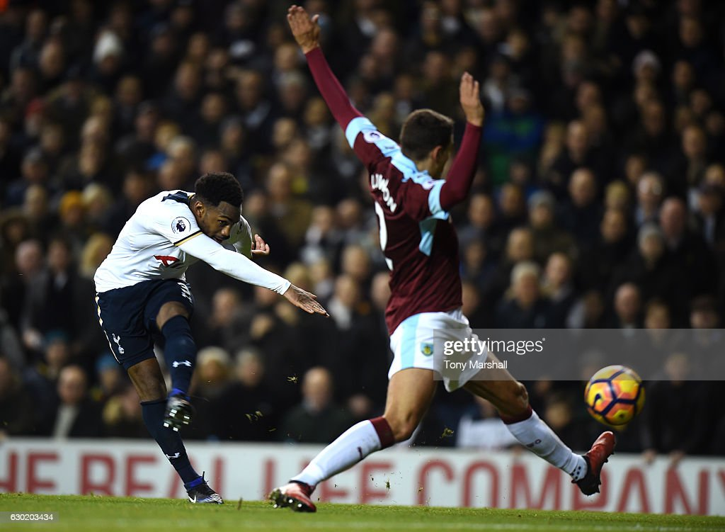 Danny Rose of Tottenham Hotspur (L) scores his sides second goal during the Premier League match between Tottenham Hotspur and Burnley at White Hart Lane on December 18, 2016 in London, England.