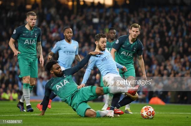 Danny Rose of Tottenham Hotspur tackles Bernardo Silva of Manchester City during the UEFA Champions League Quarter Final second leg match between...