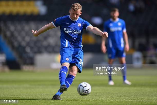 Danny Rowe of Chesterfield scores their team's first goal from a free kick during the Vanarama National League Play Off match between Notts County...