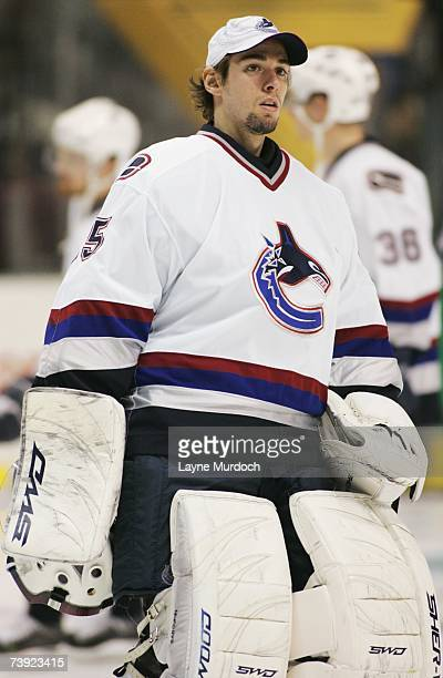 Danny Sabourn of the Vancouver Canucks looks on against the Dallas Stars during game three of the 2007 NHL Western Conference Quarterfinals at...