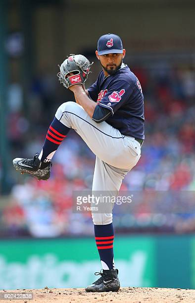 Danny Salazar of the Cleveland Indians throws in the first inning against the Texas Rangers at Globe Life Park in Arlington on August 28 2016 in...