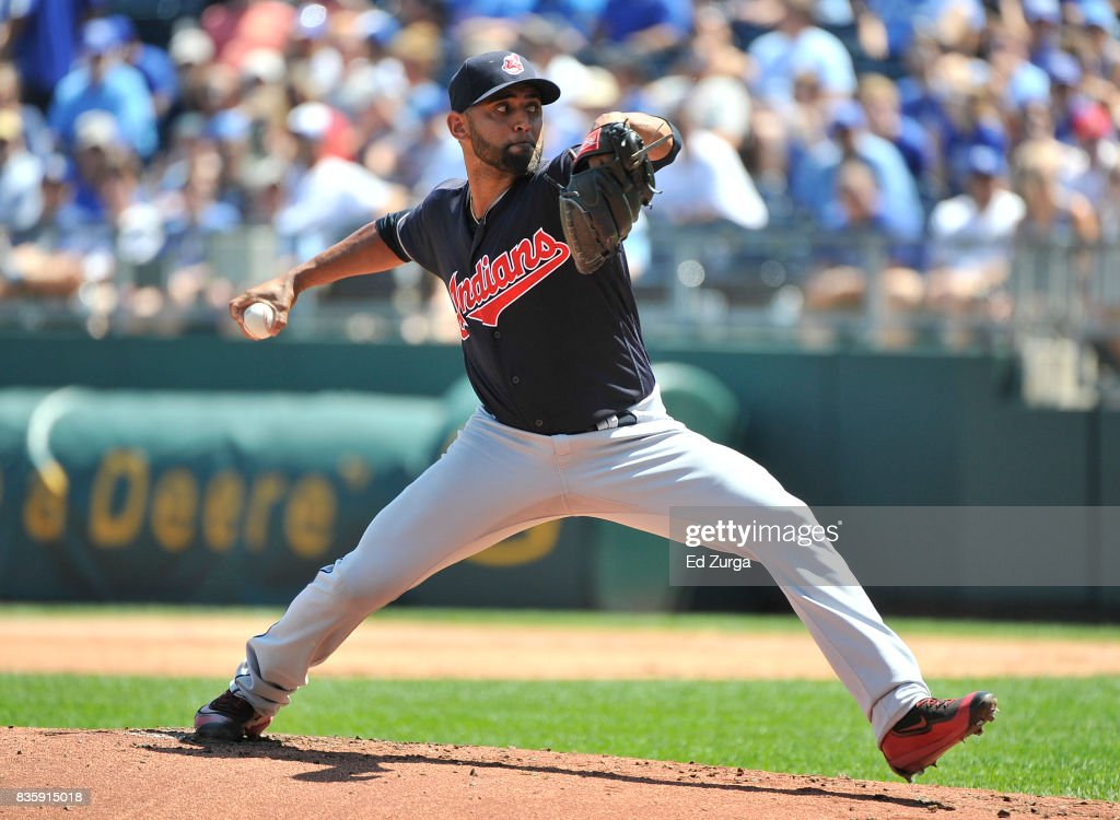 Danny Salazar #31 of the Cleveland Indians throws in the first inning against the Kansas City Royals at Kauffman Stadium on August 20, 2017 in Kansas City, Missouri.