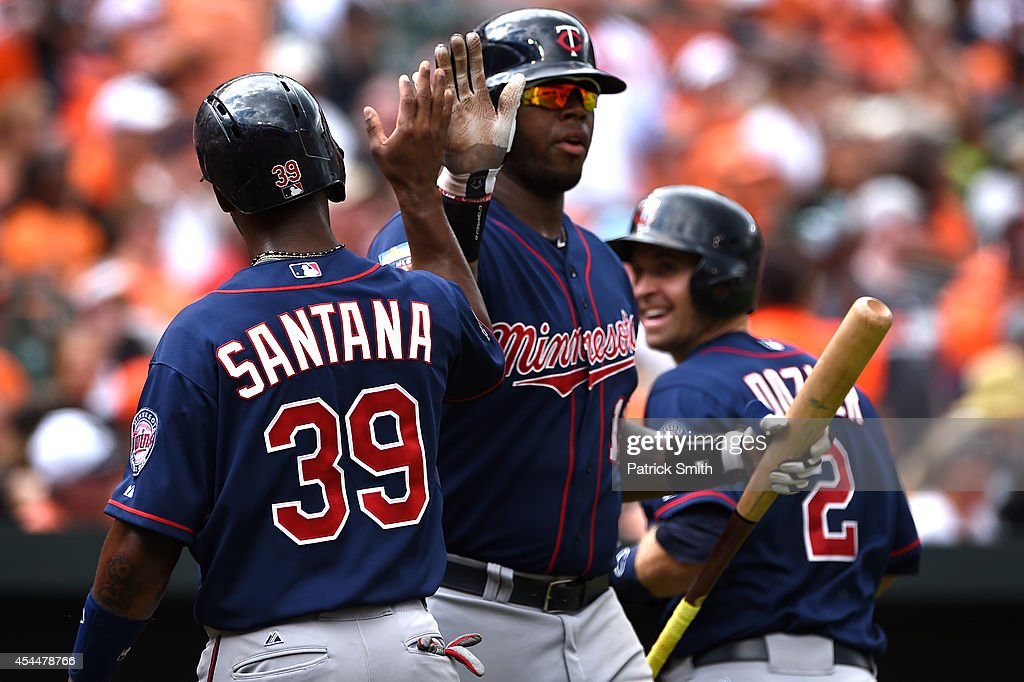 Danny Santana #39 of the Minnesota Twins celebrates with teammates after scoring off of a Joe Mauer (not pictured) triple against the Baltimore Orioles in the sixth inning at Oriole Park at Camden Yards on September 1, 2014 in Baltimore, Maryland. The Minnesota Twins won, 6-4.